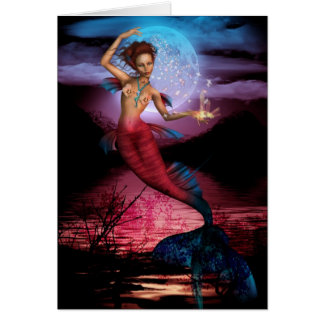 Magical Mermaid Moon Greeting Card