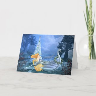 Magical Mermaid, Swan Boat and Christmas Tree Holiday Card