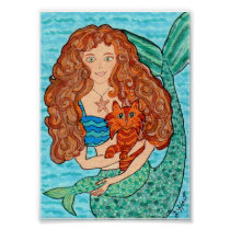 Magical Mermaid with Cat Folk Art Poster