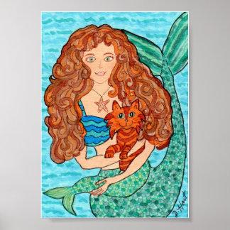 Magical Mermaid with Cat Folk Art Poster