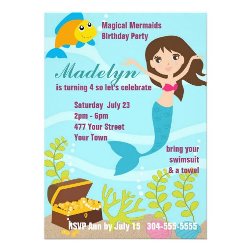 Magical Mermaids Pool Party Personalized Announcements