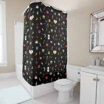 Magical mix of kisses, lips, hearts, owls, notes shower curtain