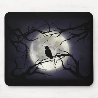 Magical Moon Owl on Branch Mousepad