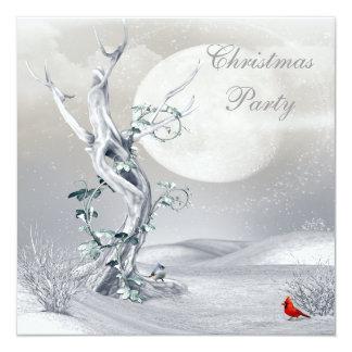 Magical Moon Winter Scene & Birds Christmas Party Card