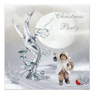 Magical Moon Winter Scene Boy & Birds Christmas Card