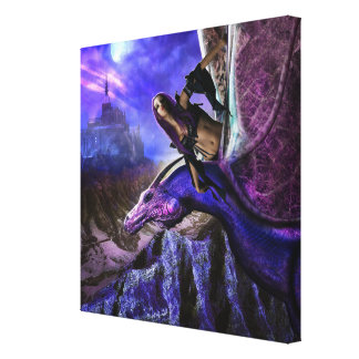 Magical Moonlight Dragon Rider Fantasy Castle Canvas Print