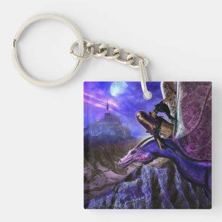 Magical Moonlight Dragon Rider Fantasy Castle Keychain