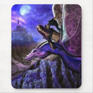 Magical Moonlight Dragon Rider Fantasy Castle Mouse Pad