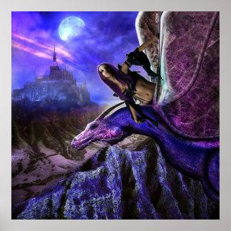 Magical Moonlight Dragon Rider Fantasy Castle Poster