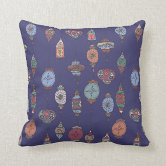 Magical Moroccan Lanterns Cushion Deep Purple Blue