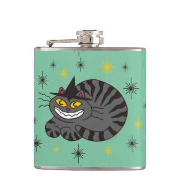 Halloween Themed Magical Mr. Midnight on Mint Green Hip Flask