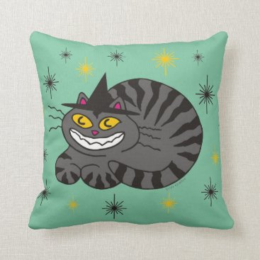 Halloween Themed Magical Mr. Midnight on Mint Green Throw Pillow
