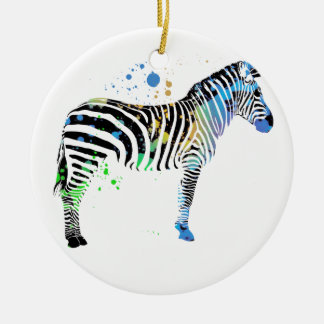 Magical Multi Coloured Zebra Spray Paint style Ceramic Ornament