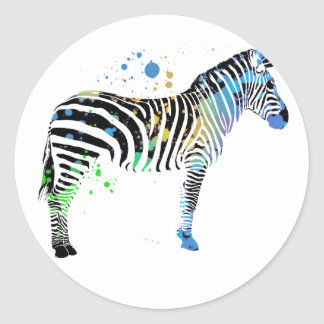 Magical Multi Coloured Zebra Spray Paint style Classic Round Sticker