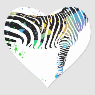 Magical Multi Coloured Zebra Spray Paint style Heart Sticker