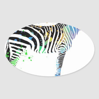 Magical Multi Coloured Zebra Spray Paint style Oval Sticker