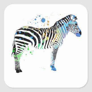 Magical Multi Coloured Zebra Spray Paint style Square Sticker