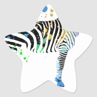 Magical Multi Coloured Zebra Spray Paint style Star Sticker