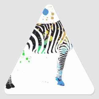 Magical Multi Coloured Zebra Spray Paint style Triangle Sticker