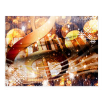 magical music note piano teacher festive holiday postcard
