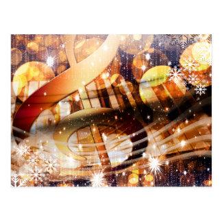 magical music note piano teacher festive holiday postcard