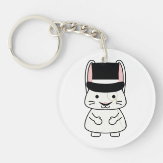 Magical Mustached Rabbit Acrylic Keychains