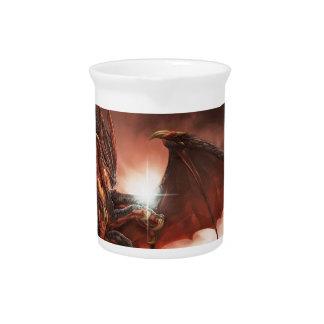 Magical & Mystical Fantasy Flying Dragon Heart Beverage Pitcher
