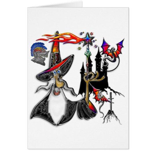 Magical Mystical Fire Wizard Magician Card