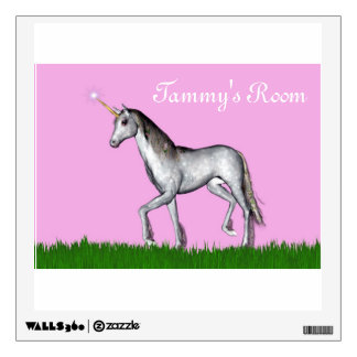 Magical mystical unicorn in a green field wall sticker