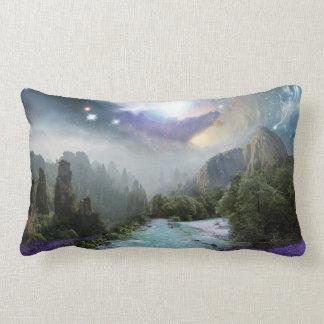 Magical Nature Landscape with Rushing Water Lumbar Pillow