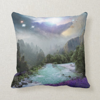 Magical Nature Landscape with Rushing Water Throw Pillow