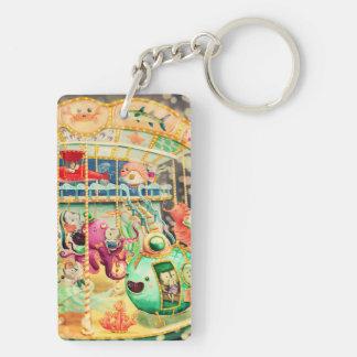 Magical Nautical Carousel Rectangular Acrylic Key Chains