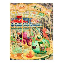 artsprojekt, carousel, carnival, nautical, underweater, nautcial animals, octopus, hippocampus, jelly fish, cat, amusment park, cats, children illustration, children, for kids, kids, kid, nursery, cute illustration, cat gift, cat present, nautical present, nautical gift, carousel gift, carousel present, Cartão postal com design gráfico personalizado