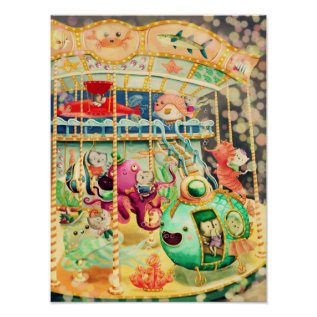 Magical Nautical Carousel Poster at Zazzle