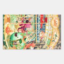 artsprojekt, carousel, carnival, nautical, underweater, nautcial animals, octopus, hippocampus, jelly fish, cat, amusment park, cats, children illustration, children, for kids, kids, kid, nursery, cute illustration, cat gift, cat present, nautical present, nautical gift, carousel gift, carousel present, Sticker with custom graphic design