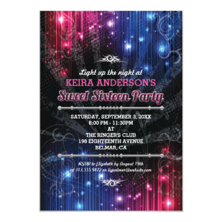 Magical Neon Glow Lights Sweet 16 Party Card