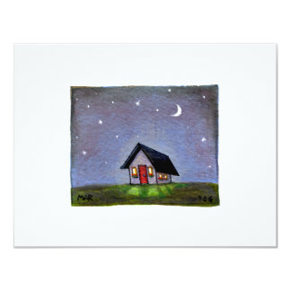 Magical night cottage art starry sky fun painting 4.25x5.5 paper invitation card