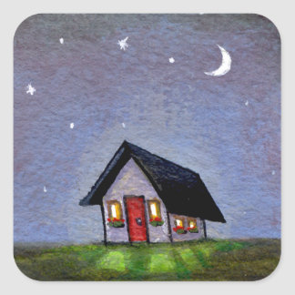 Magical night cottage art starry sky fun painting square stickers