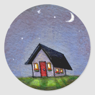 Magical night cottage art starry sky fun painting classic round sticker