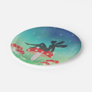 Magical Night Garden Paper Plate & Red Mushrooms Plates   Zazzle