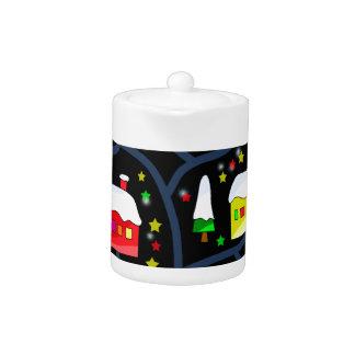 Magical night landscape teapot