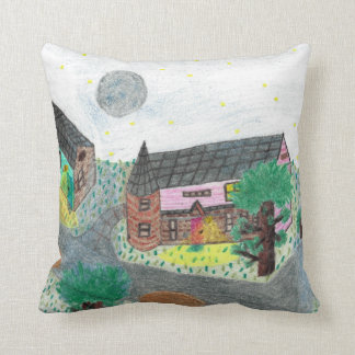 Magical Night Nighttime Scene Pillow