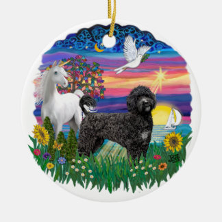 Magical Night- Portuguese Water Dog (black) Double-Sided Ceramic Round Christmas Ornament