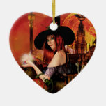 Magical Night Witch Heart Ornament