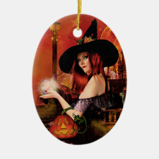 Magical Night Witch Oval Ornament