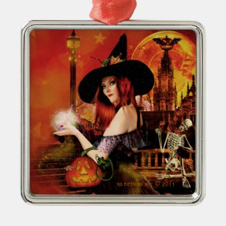 Magical Night Witch Silver Square Ornament