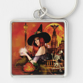 Magical Night Witch Square Silver Keychain