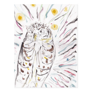 Magical Owl Colourful Watercolour Painting Postcard