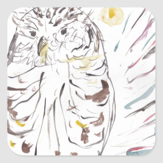 Magical Owl Colourful Watercolour Painting Square Sticker