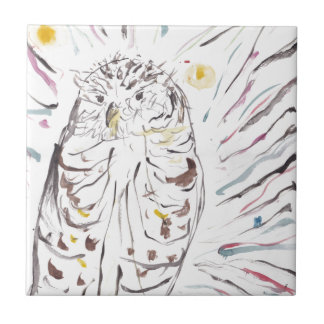 Magical Owl Colourful Watercolour Painting Tile